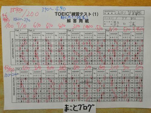TOEICテスト練習新公式問題集 1第1回の結果は390点でした!