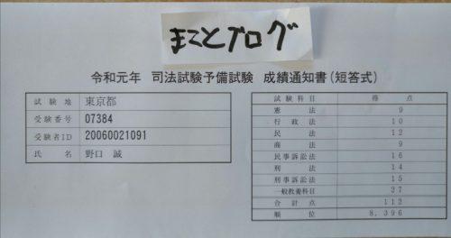 令和元年 司法試験予備試験 成績通知書(短答式) まことブログ
